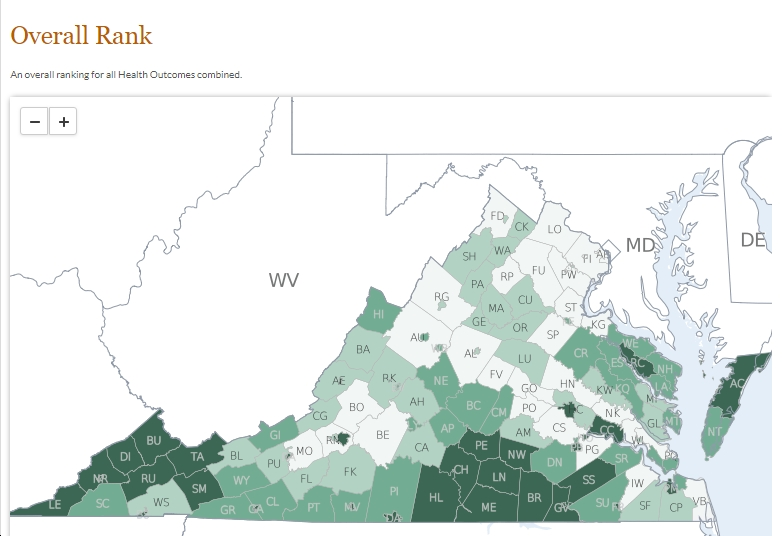 New Report on Virginia Health Rankings Highlights Glaring ... on map map of virginia, industry map of virginia, country map of virginia, physiographic map of virginia, race map of virginia, artistic map of virginia, regional map of virginia, travel map of virginia, racial map of virginia, physical geography of virginia, map of mountains in virginia, political map of virginia, detailed map of virginia, simple map of virginia, geologic map of virginia, large map of virginia, product map of virginia, state of virginia, topographic map of virginia, thematic map of virginia,