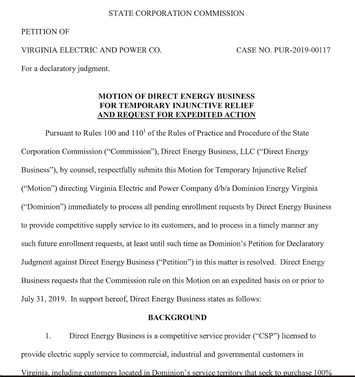 Direct Energy Files Petition with State Corporation Commission