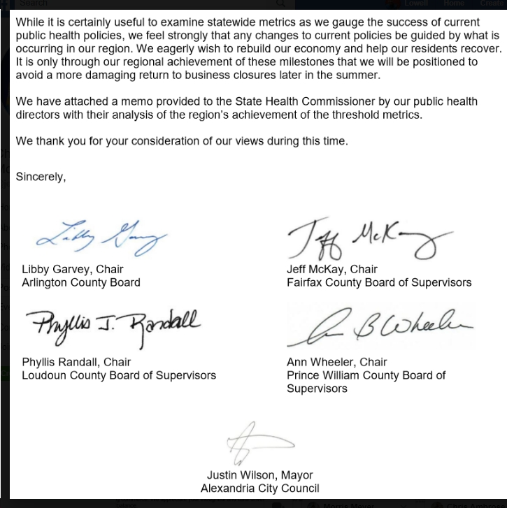 Five Largest Northern Virginia Localities Urge Governor