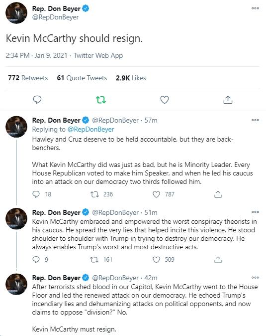 Rep. Don Beyer (D-VA08) Calls for House GOP Leader Kevin ...